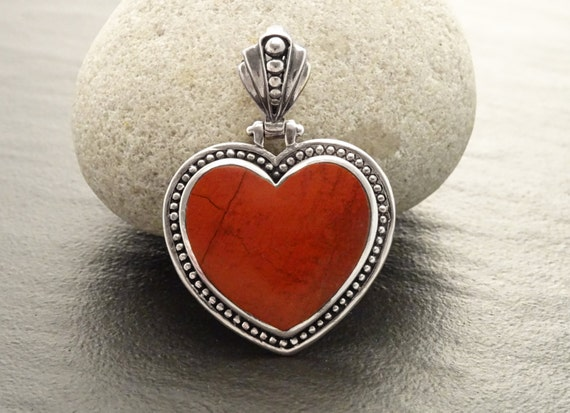Red Jasper Pendant - Gemstone Pendant - Sterling Silver pendant, Heart pendant, Red Heart, Love, Hipster, Hipster Wedding, Heart Jewelry