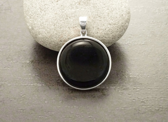 Black Onyx Pendant, Sterling Silver, Necklace, Black Round Stone Pendant, Black Onyx, Jewelry, Design, Minimalist, Everyday, Women, Jewelry