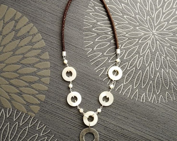 Chic Necklace, Sterling Silver, Round White Mother-of-Pearl Shell Disc, Brown Leather Jewelry, Unique Modern Round Circle Discs Necklace