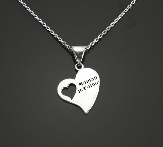 """Mother's Day Heart Necklace, Sterling Silver, French """"I Love you Mum"""" pendant, Dainty Love Mom Heart Charm Jewelry, Gift for Mother's day"""