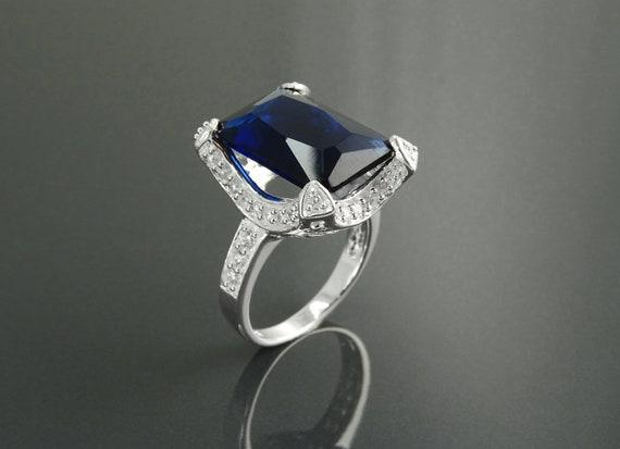 Rectangular ring, silver ring, large statement ring, diamond simulant (CZ) ,blue sapphire simulant ring, evening event ring, rectangle stone