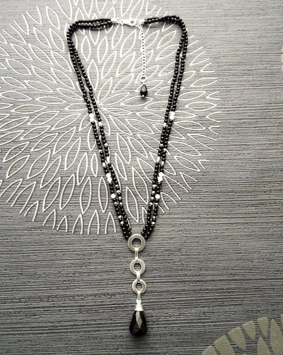 Boho Lariat Necklace - Black Onyx Necklace - Onyx Teardrop - Multi Strands Necklace - Sterling Silver Pendant - Choker - Modern Necklace