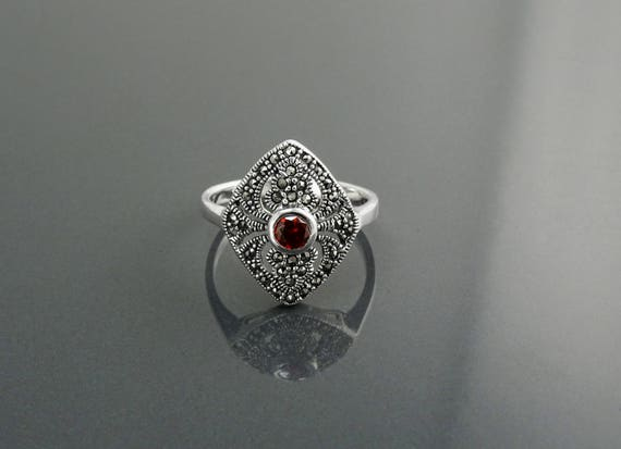 Garnet Marcasite Ring, Sterling Silver, Vintage Marquise Ring, Lab Red Garnet Simulant, Retro Black Stone Rings, Women's Gifts