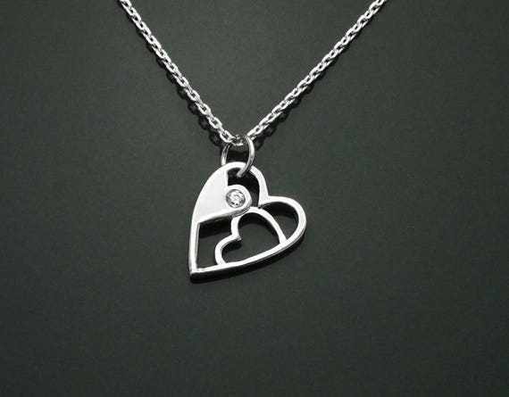 Modern Heart Necklace, Sterling Silver, Lab Diamonds Simulant, Graphic Design Heart Charm, Love Jewelry, Valentine's Day Gifts, Mother's day