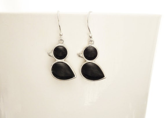 Birdy Earrings - Sterling Silver, Bird, Duck, Black Onyx, Dainty Jewelry, Dainty Pendant, Cute Jewelry, Kawaii, Animals Jewelry, 925.