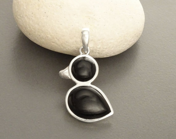 Birdy Pendant - Sterling Silver, Bird Pendant, Duck, Black Onyx, Dainty Jewelry, Dainty Pendant, Cute Jewelry, Kawaii, Animals Jewelry, 925.