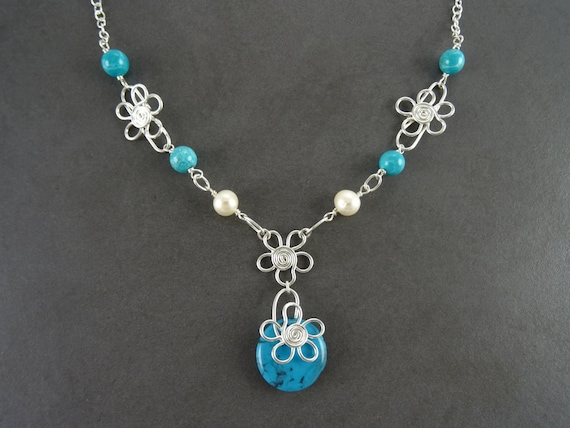Unique, Sterling, Necklace, Water Pearl, Turquoise, Ethnic, Unique, Original, Zen, Women, Silver Jewelry, Fast Shipping, XMAS, Blue, Pearl.