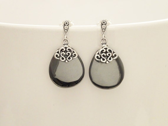 Hematite Silver Earrings - Sterling Silver - Hematite Gemstone - Grey - Dangle Earrings - Filigree Earrings - Elegant - Shabby chic earrings