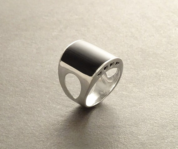 Onyx Cuff Ring - Sterling Silver Ring - Black Onyx - Modern Ring - Gothic Ring - Black Jewelry - Hipster Ring - Fashion Ring - Black Ring