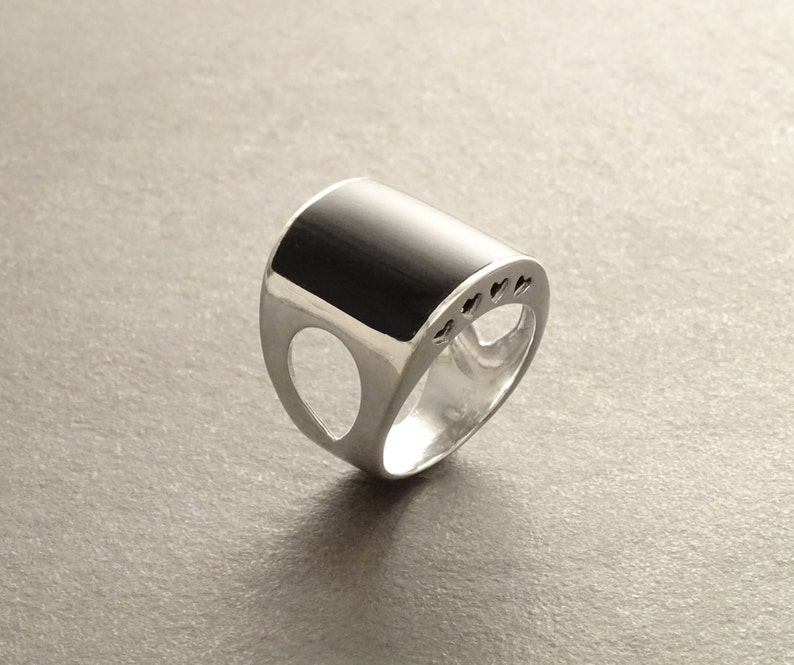 Black Cuff Ring  Sterling Silver Ring  Black Onyx Stone image 0