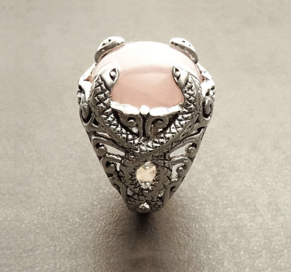 Rose Quartz Snakes Ring - Sterling Silver Ring - Rose Quartz Gemstone - Boho Ring - Gypsy Ring - Celtic Ring - Statement Ring