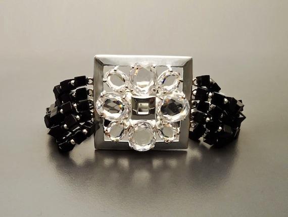 Statement Black Onyx Bracelet - Sterling Silver Square set with Cubic Zirconia - Onyx Bracelet - Sterling silver Bracelet - Gift for Her.
