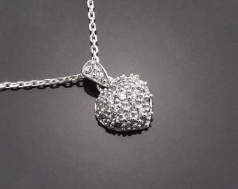 Heart Pendant, Sterling Silver, Clear White Stones (Cz), Promise Love Necklace Charms, Gift for Woman