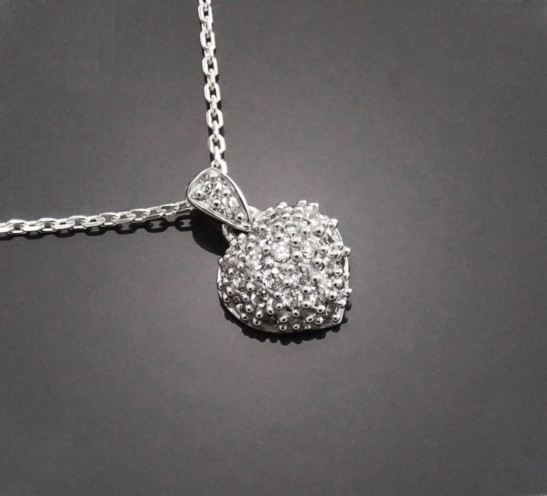 Sterling Silver Heart Pendant Promise Love Necklace Charms Cz Valentine/'s Day Gift Stones Engagement Jewelry