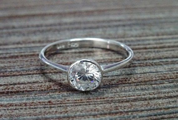 1ct Solitaire Ring, Solid Silver, Closed Bezel Set Ring, Thin Birthstone Jewelry, Sparkle Lab Diamond, Promise Ring, Valentine's Day Gifts