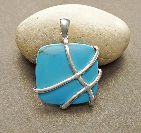 Turquoise Filigree Pendant - Sterling Silver Pendant - Square shape -Turquoise Gemstone - Intricate Filigree - Lace - Unique Pendant - Bold