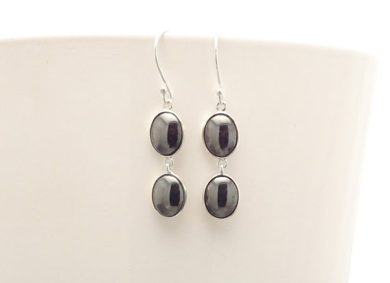 NATURAL Hematite Earrings, Sterling Silver 925 NOT-DYED Hematite Gemstone Minimalist Earrings Dark Gray Hematite 2 Stones Modern Jewelry