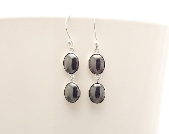 Gray Hematite Stone Earrings, Sterling Silver, NATURAL Grey Hematite Gemstone, Minimalist Modern Jewelry, Dangle Drop Oval 2 Stones Earrings