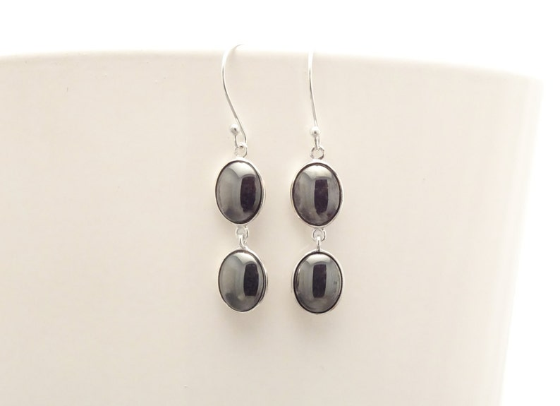 Gray Hematite Stone Earrings Sterling Silver NATURAL Grey image 0