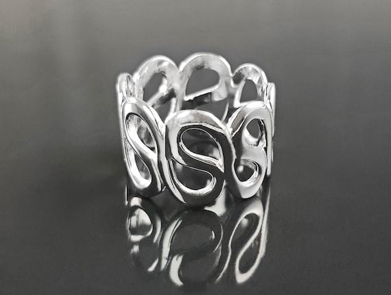 Large Silver Ring, Large Wave Ring, Silver Band Ring, Fantastic Women Ring,  Modern Art Ring, Long Band Ring, Women Silver Ring, Sterling.