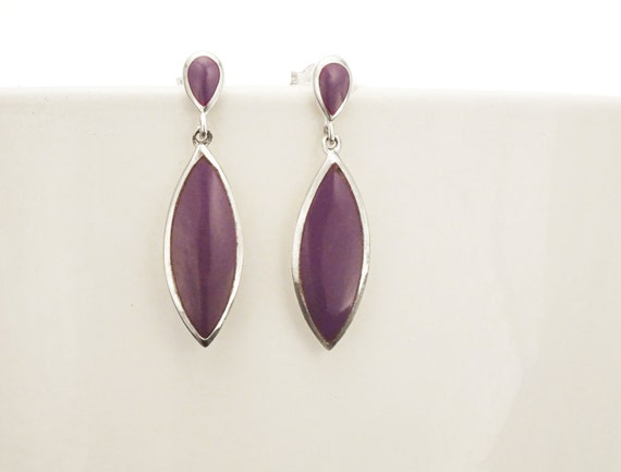 Purple Dangle Earrings - Sterling Silver Earrings, Purple Earrings, Almond Shape, Bright Purple Earrings, Dainty Earrings, Silver Jewelry.