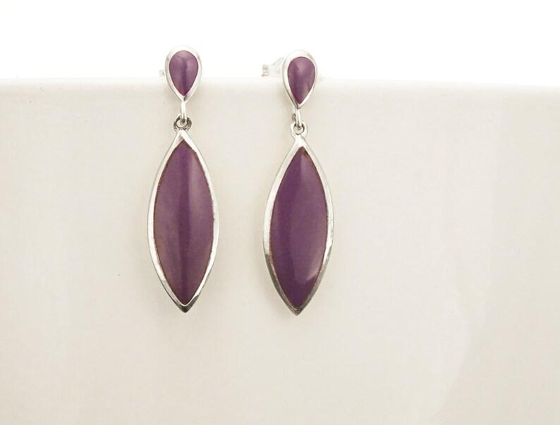 Purple Dangle Earrings  Sterling Silver Earrings Violet Oval image 0