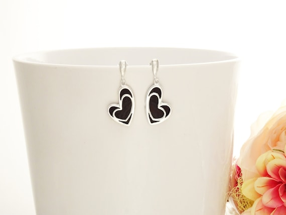 Black Heart Earrings - 925 Sterling Silver Earrings - Love Earrings - Onyx Earrings - Filigree  Earrings - Bridesmaid Earrings - Valentine