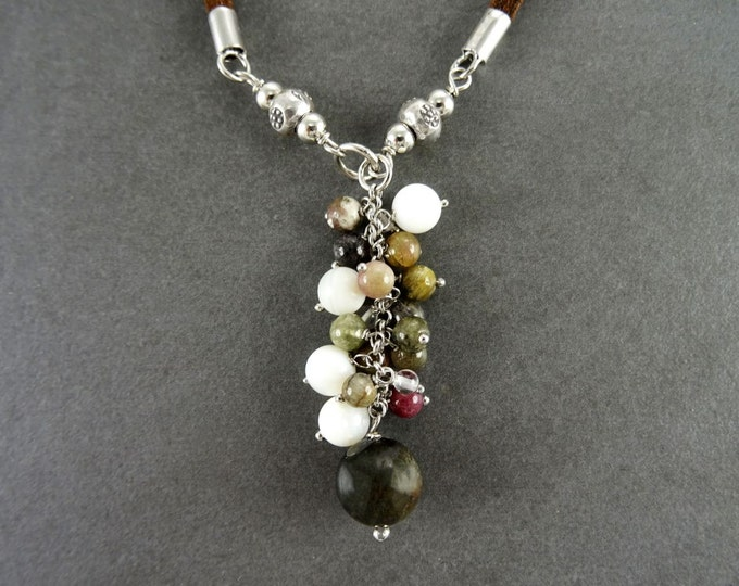 Stones Necklace, Sterling silver, Mixed NATURAL Stones Drop Necklace, Lariat Cluster Gemstone Pendant, Brown Leather Jewelry