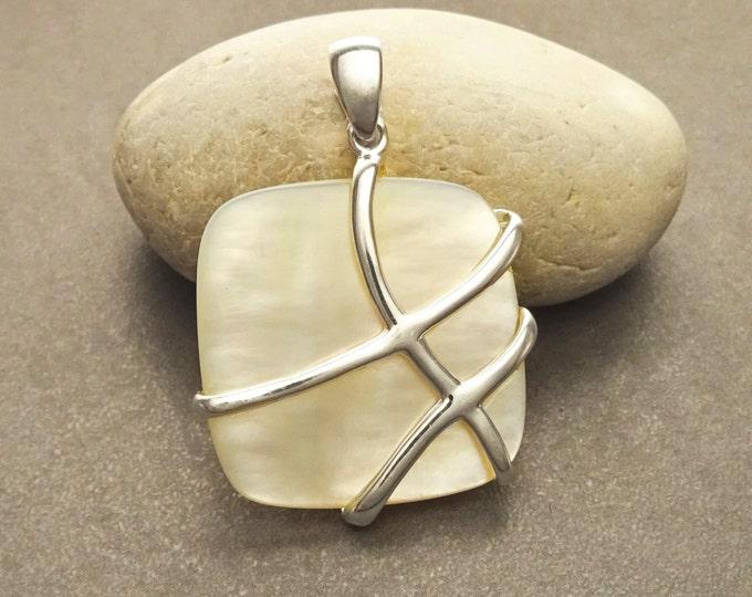 Contemporary Square Pendant - Sterling Silver Pendant - Mother of Pearl - Filigree - shabby chic pendant - Unique Pendant - design Pendant
