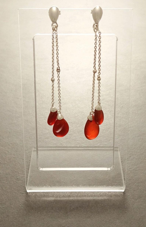 Sterling Silver Earrings Red Agate Gemstone Boho Earrings Chain Earrings Link earrings Teardrop Chain Red Teardrop Earrings