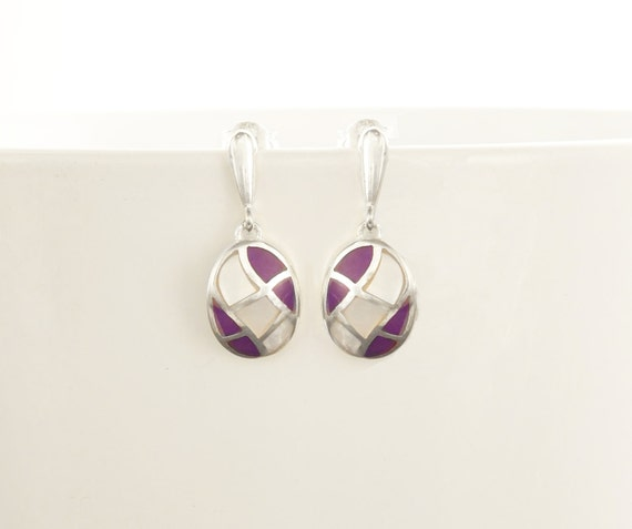 Oval Mosaic Earrings - Sterling Silver Earrings, White Mother of Pearl, Wave Pattern Earrings, Inlay Dangle Earrings, Purple, Shell earrings