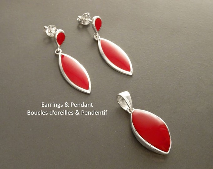 Red Oval Earrings, Sterling Silver, Almond Shape, Bright Red Earrings and Pendant Set, Dainty Jewelry, Red Jewelry, Modern Design