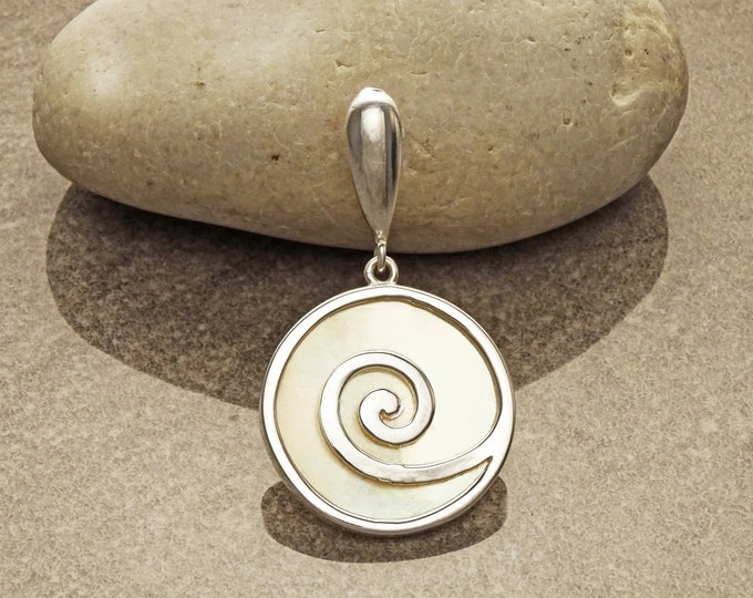 White Round Pendant, Sterling Silver, White Mother of Pearl Shell Jewelry, Modern Geometric Spiral Design, Minimalist Stone Necklace
