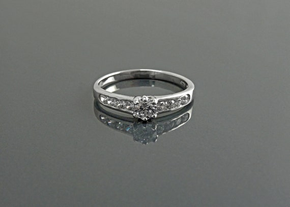 Delicate Solitaire Eternity Ring, 1.5mm Wedding Band, Engagement Ring, Man Made Diamond Simulants, Stacking Bridal Ring, Sterling Silver