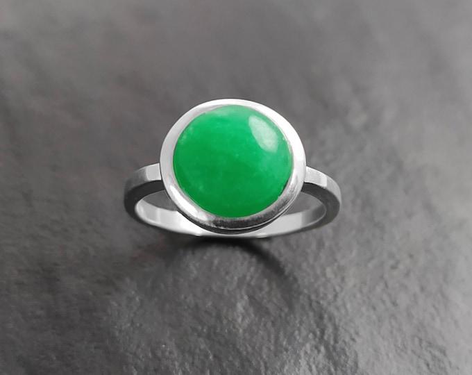 Jade Ring, Sterling Silver, Round Green Stone Ring, Genuine Imperial Green Jade Gemstone Birthstone Jewelry, Modern Minimalist Style Gift