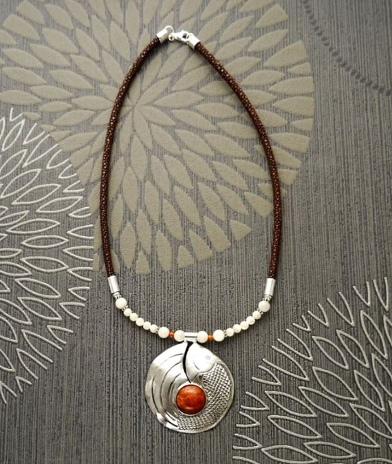 Coral Bib Necklace, with a Sterling Silver & Coral Jasper Pendant, Koi Fish Design, Leather Torque, Boho Necklace