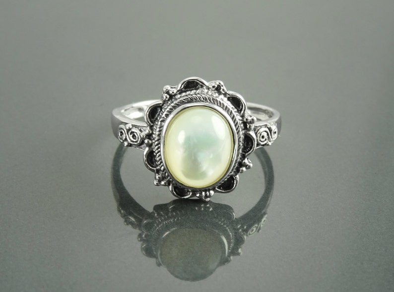 Mother of Pearl Boho Ring Sterling Silver Real White MOP image 0
