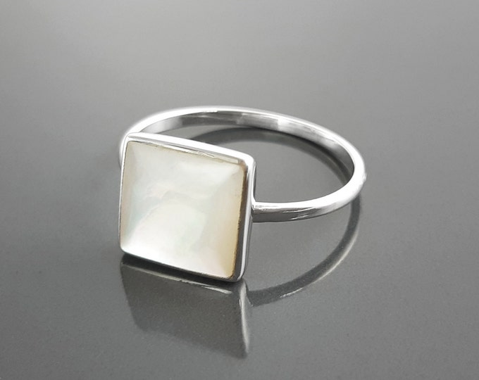 Stacking Ring - Sterling Ring - Square Ring - Mother of Pearl - Small Ring - Affordable Ring - Pearl Ring - Dainty Ring - MOP Ring - Unique