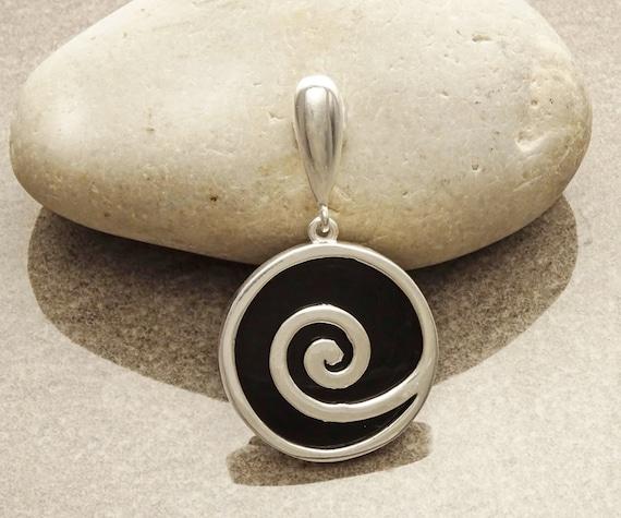 Black Pendant - Sterling Silver - 925 - Onyx Pendant - Black Onyx - Spiral Pendant - Onyx Pendant - Black Jewelry - Spiral - Onyx Jewelry.
