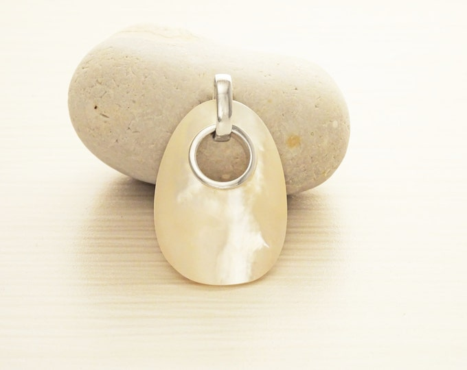 White Donut pendant, sterling silver, genuine mother-of-pearl shell Necklace, modern minimalist oval shaped jewelry, unique woman gift