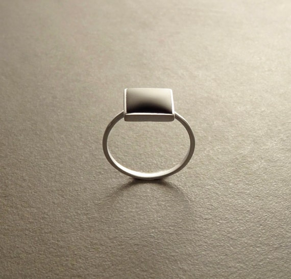 Stacking Ring - Sterling Ring - Square Ring - Black Onyx Ring - Small Ring - Affordable Ring - Black Stone Ring - Dainty Ring - Black Ring