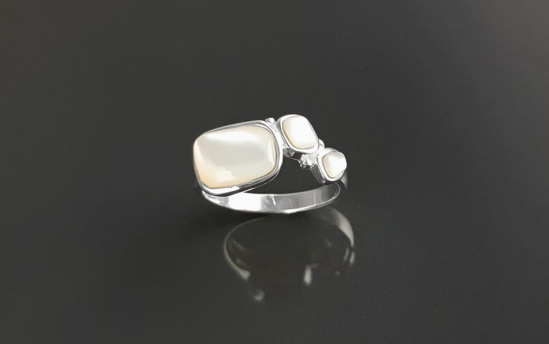 Geometric ring sterling silver real mother of pearl shell image 0