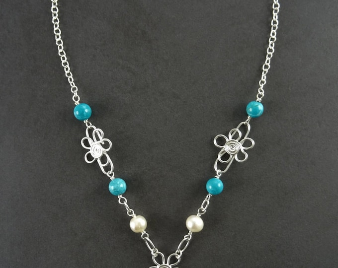 Turquoise necklace, sterling silver, fresh water pearl, blue Round Stone, boho hipster flower pattern jewelry