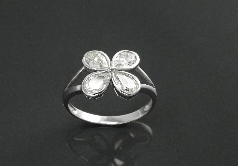 Ring Sterling Silver White Clear Stones CZ Modern Flower image 0
