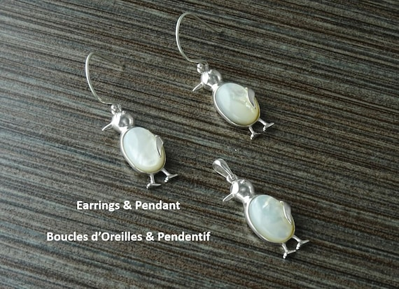 Penguin, Earrings and Pendant, Sterling Silver, Bird, Jewelry, MOP, White Mop,Mother of Pearl, Dainty, Animals, Women, 925, FAST SHIPPING.