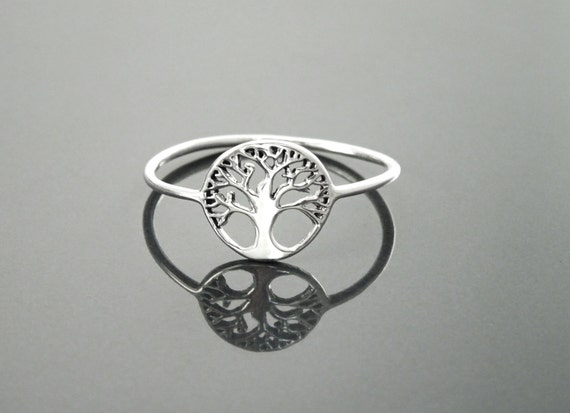 Tree Of Life Ring, Engraved Tree Ring in Sterling Silver, Bridesmaid Gift, Lace Ring, Stackable Ring, Midi Ring, Filigree Ring, Popular Ring