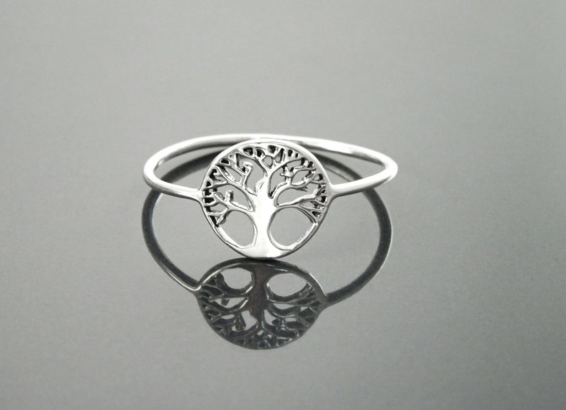 Tree Of Life Ring Engraved Tree Ring in Sterling Silver image 0