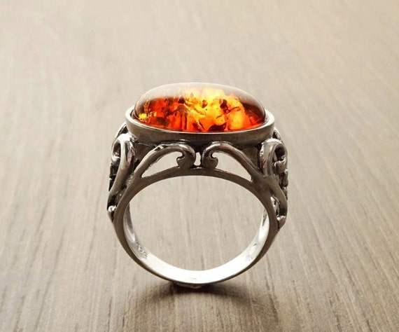 Genuine Amber Filigree Ring, Sterling Silver, Intricate Lace Ring, Horizontal Oval Shape Ring, Boho Gypsy Ring, Antique Vintage Jewelry
