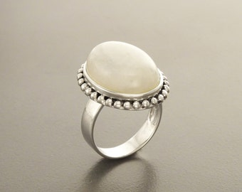 NATURAL Moonstone Ring, 925 Sterling Silver Gemstone Ring, Twisted Rope Ring, Oval Stone, Big White Moonstone, Antique Ring, Ring