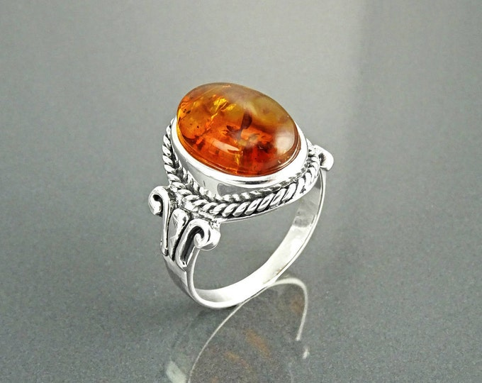 Amber Hipter Ring, Sterling Silver, GENUINE Amber Gemstone Jewelry, Boho Unisex Ring, Vintage Oval Stone Ring, Delicate Rope Shank Band